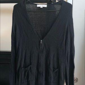 Ann Taylor LOFT Black Zip Cardigan Size L Petite